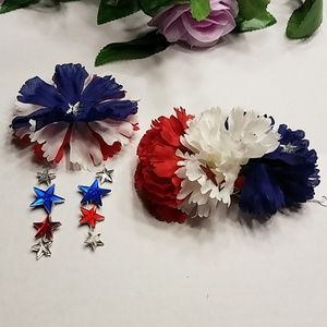 Patriotic hair flowers